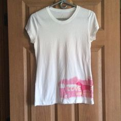 Pink Sleep tee Cotton tee with gold hearts and pink van design some pilling. PINK Victoria's Secret Intimates & Sleepwear Pajamas