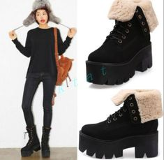 Hot Women's Creepers Chunky Platform Warm Ankle Boots Knight Lace Up Heel Shoes Lace Up Heels, High Heels, Shoes Heels, Punk Shoes, Martin Boots, Women's Creepers, Clubwear, Timberland Boots, Knight