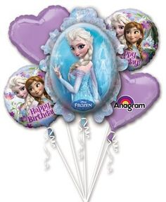 Disney Frozen Elsa and Anna Balloon Bouquet Birthday Party Favor Supplies 5ct Foil Balloon Bouquet ** Check out this great product.