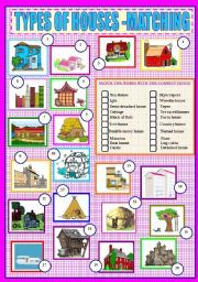 English teaching worksheets: Types of houses
