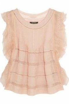 ISABEL MARANT Ojima ramie, lace and silk top. Blush semi-sheer ramie Pintucked, lace inserts, layered silk-organza trims Slips on ramie; silk Hand wash or dry clean Designer color: Antique Pink Lace Silk, Silk Top, Silk Organza, Pink Silk, Isabel Marant, Smocks, Pink Lace Tops, Bustier, Stitch Fix