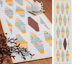 Shake Up table runner by Thomas Knauer in Set the Table book - lava lamp inspiration - strip pieced tumbler shapes