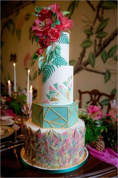 Bright, colorful and unusual, this is exactly how a tropical wedding cake should be. The best tropical wedding cake trends are collected in our gallery. Unique Cakes, Elegant Cakes, Modern Cakes, Gorgeous Cakes, Amazing Cakes, Geometric Cake, Geometric Shapes, Geometric Wedding, Cupcake Torte