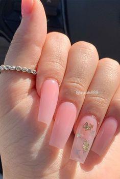 Baby Pink Nails Acrylic, Classy Acrylic Nails, Pink Glitter Nails, Summer Acrylic Nails, Summer Nails, Spring Nails, Baby Pink Nails With Glitter, Pink Clear Nails, Nail Ideas For Summer
