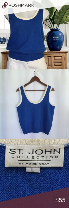 "St. John Santana Knit Tank Top St. John Collection by Marie Gray Santana knit tank top.  Measures about 19"" across the armpits, 21"" in length and 14"" across the waist.  Gorgeous blue with contrast around the scooped neckline and armholes.  Like new.  No trades. St. John Tops Tank Tops"