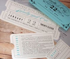 Old Hollywood... Tickets to a wedding... Tickets to tables... Named with scene's from ya'lls life?!