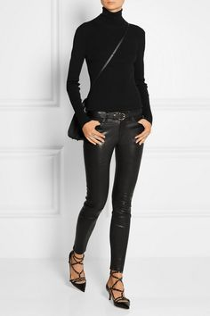FRAME DENIM Le Skinny stretch-leather pants VALENTINO Love Latch eyelet-embellished leather pumps VICTORIA BECKHAM City Victoria micro leather tote