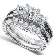 Hot New Item! Black and White Diamond Wedding Ring Set in 14K White Gold