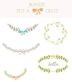Put a bow on it! Laurel Clip Art Frame Clip Art Leaves Clip Art by AngieMakes, $6.00