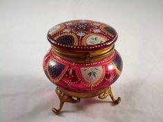 Antique Moser Bohemian Czech Cranberry Glass Footed Dresser Box Jar Enamel   eBay