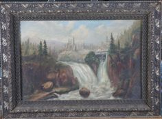 VINTAGE FRAMED OIL PAINTING ON BOARD OF A NATURE SCENE WITH WATERFALLS. IT IS DONE IN MUTED COLORS. THE FRAME HAS SOME DAMAGE.