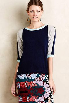 I like the color and design of this top. Colorpatch Pullover - anthropologie.com