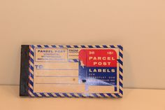 Parcel Post Permaflat Gum Labels 16 in booklet Vintage + cool New old stock