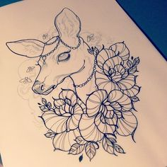 ♥ { #art #bodyart #deer #flower #flowers #tattoo #tattooart #tattoos }