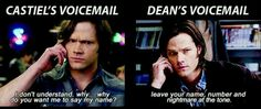 Voicemail messages - Supernatural Funny. Sam's completely unamused expression at Dean's voicemail.