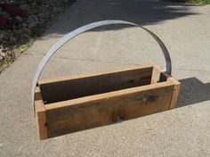Barn wood Rustic Reclaimed Recycled wood basket with wine barrel ring handle-RTS. $39.00, via Etsy.