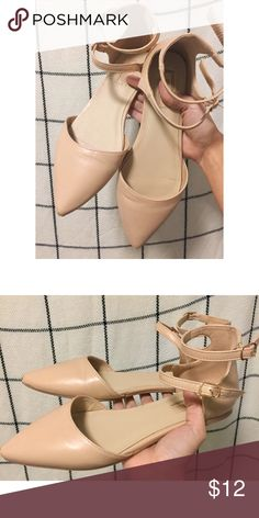 XXI // Ballerina Flats Very cute and pretty forever 21 flats. Are an adorable pinkish/peach/tab color. Matches with basically everything. Great basic nude flat. Has two straps around ankle and closed toe front. Forever 21 Shoes Flats & Loafers