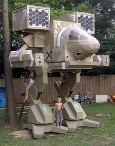 NASA scientist builds Mad Cat BattleTech treehouse for his kids. -- I would have killed for this as a kid.