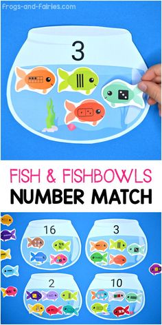 Do your kids need a fun a way to practice number sense? This colorful Fish and Fishbowls Number Matching printable activity is a great way for pre-k, kindergarten or first grade kids to practice counting and number sense! Counting Activities Eyfs, Subitizing Activities, Number Sense Activities, Nursery Activities, Math Activities For Kids, Preschool Activities, Numbers For Kids, Math Numbers, Number Games For Kids