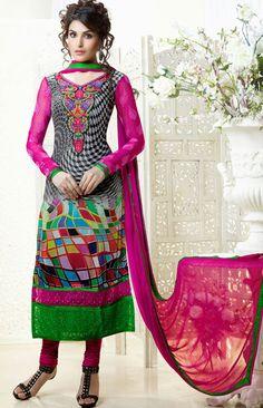 USD 80.57 Pink Digital Printed Churidar Suit  40461