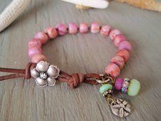 Pink bracelet  Island Boho  bubblegum pink by slashKnots on Etsy