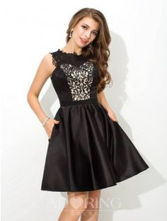 A-Line Scoop Sleeveless Lace Short Satin Cocktail Dress