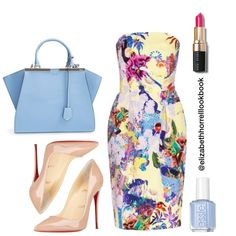 Liz by elizabethhorrell on Polyvore featuring polyvore fashion style Mary Katrantzou Christian Louboutin Fendi Bobbi Brown Cosmetics Essie
