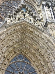 Detail from the doorway of Reims cathedral, probably the most famous and one of the finest examples of High Gothic architecture.