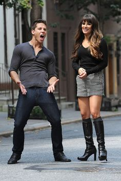 Dean Geyer's Brody Dances Next to Lea Michele's Rachel While Filming Glee Season 4 in New York City on August 11, 2012