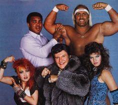 Muhammed Ali, Hulk Hogan, Cyndi Lauper, Liberace and Wendi Richter. Obviously pre-Photoshop. Amazing.