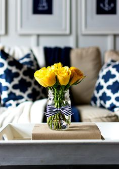 Home Decoration Ideas Living Room Spring Decor Ideas in Navy and Yellow - It All Started With Paint.Home Decoration Ideas Living Room Spring Decor Ideas in Navy and Yellow - It All Started With Paint Inspiration Design, Decoration Inspiration, Decor Ideas, Room Ideas, Decorating Ideas, Unique Home Decor, Cheap Home Decor, Diy Home Decor, Boho Home