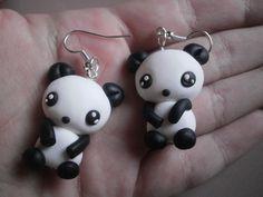 fimo polymer clay orecchini earrings panda