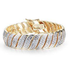 Heavy 2 Carat Diamond Bracelet In Yellow Gold Overlay (Yellow), White J-K, Size 7 Inch