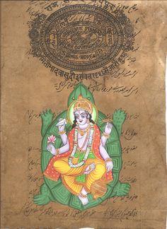 Kurma Vishnu Second Avatar Watercolor Art Handmade Indian Hindu Deity Painting