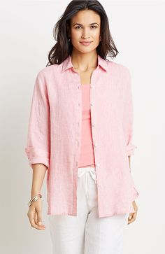 "Yarn-dyed linen big shirt in ""peony/white"""