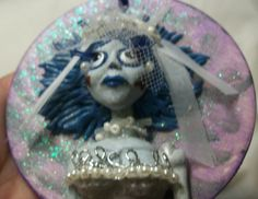 CORPSE BRIDE HALLOWEEN ORNAMENT polymer clay art OOAK doll zombie scar dead day
