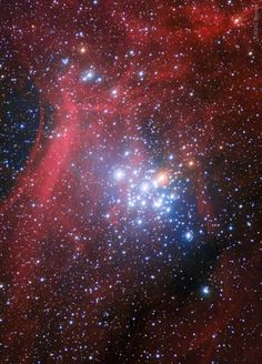 """NGC 3293: A Bright Young Star Cluster, image via NASA. Hot blue stars shine brightly in this beautiful, recently formed galactic or """"open"""" star cluster. NGC 3293 is located in the constellation Carina, lies at a distance of about 8000 light years, and has a particularly high abundance of these young bright stars. A study of NGC 3293 implies that the blue stars are only about 6 million years old, whereas the cluster's dimmer, redder stars appear to be about 20 million years old."""