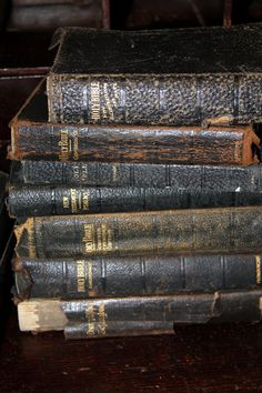 Old Bibles, I love seeing these old bibles, reminds me of my grandmother and the many worn bibles I have seen in my family.