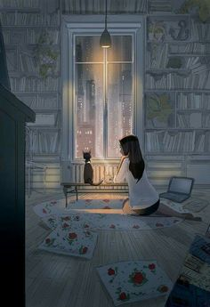 Pascal Campion is a French-American artist based in Burbank, California who creates heartwarming and soulful illustrations about every day life. Art And Illustration, Inspiration Art, Art Inspo, Fantasy Kunst, Fantasy Art, Pascal Campion, Art Mignon, Aesthetic Art, Cute Drawings