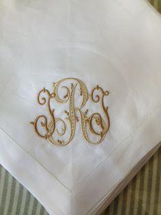 Skylar & Bluebell Monogram on dinner napkins