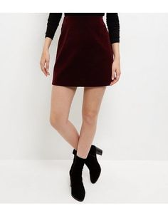Burgundy Velvet Textured Mini Skirt | New Look