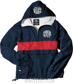Great monogrammed red and blue jacket!