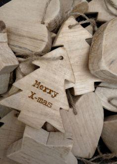 Kerstboom, hart en ster - Houten kerst ornamenten. Merry X-mas!