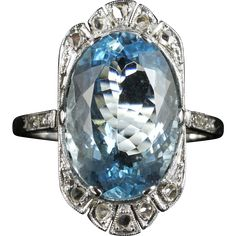 Antique Edwardian Aquamarine Rose Cut Diamond Ring 7.80ct Aquamarine 18ct White Gold #rubylane #antiquejewelry