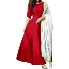 ethnic vila women's tapeta silk gown salwar suit for women(red_tapeta_free size) Cotton Lehenga, Anarkali Gown, Lehenga Choli, Silk Dupatta, Girls Party Wear, Suits For Women, Clothes For Women, Printed Gowns, Full Length Gowns