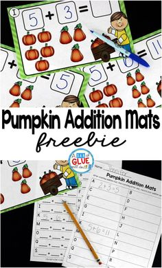 Pumpkin Addition Mats is the perfect fall math center for preschool, kindergarten, and first grade students. This printable covers numbers up to 12 and also has two recording sheets for students to record their addition sentences.