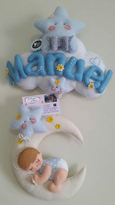 Baby Crafts, Felt Crafts, Diy And Crafts, Baby Shawer, Felt Baby, Handmade Sheet, Felt Name Banner, Baby Quilt Tutorials, Easy Christmas Ornaments