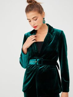 V By Very Belted Velvet Jacket - Forest Green, Forest Green, Size Women - Forest Green - 10 Velvet Blazer, Velvet Jacket, Dress Outfits, Kids Outfits, Dresses, Africa Fashion, High Leg Boots, Long Toes, Work Wear
