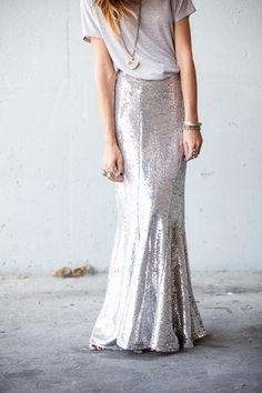 Sequin Maxi and a grey tee -- super chic and effortless for New Year's Eve
