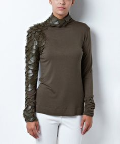 Look what I found on #zulily! Olive Faux Leather Feather Turtleneck #zulilyfinds